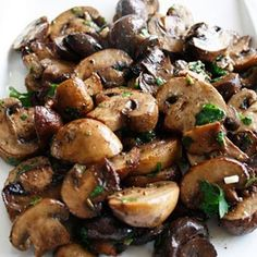 Roasted mushrooms with balsamic, garlic and herbs. Good side dish!.