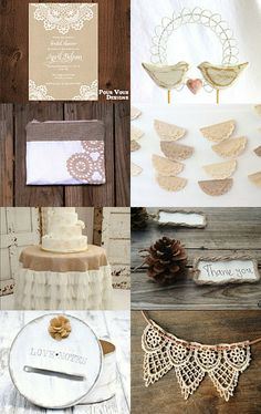 Rustic Wedding: tan themed / champagne colored, birds, Doyle/ lace pattern