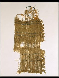 Egypt 1575 - 1087 BC - linen, earthenware beads and plaited straw.