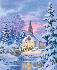 """Country Church"" by Robert Gauthier-Christmas Painting Christmas Scenes, Christmas Past, Christmas Pictures, Winter Christmas, Xmas Holidays, Blue Christmas, Country Christmas, Illustration Noel, Illustrations"