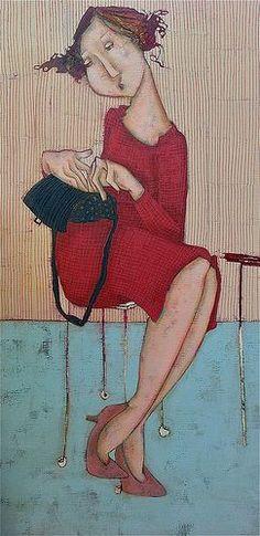 Waiting, loved so much thus painting. Art Et Illustration, Illustrations, Popular Art, Portrait Art, Watercolor And Ink, Figure Painting, Figurative Art, Photo Art, Folk Art