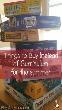 So many things you can get for the summer don't let it be JUST a text book- Things to Buy Instead of Curriculum. List of lots of creative ideas Summer School, School Fun, Middle School, High School, Summer Fun, Summer Ideas, School Games, School Tips, Public School