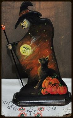 HALLOWEEN PRIMITIVE WITCH PAINTING WOOD BLACK CAT MOON SKULL PUMPKINS