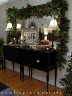 Under The Table and Dreaming: December 2010 Christmas Love, Rustic Christmas, Winter Christmas, Beautiful Christmas, Merry Christmas, Christmas Garlands, Christmas Ideas, Christmas Entryway, Elegant Christmas