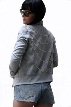 Cotton Jacket Chains & Studs styling by FinGerMadeLaB on Etsy, Cotton Jacket, Chains, Studs, Finger, Denim, T Shirt, Jackets, Stuff To Buy, Etsy
