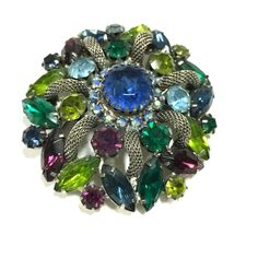 Dellagraces Vintage Jewelry Gorgeous Vintage Juliana  Fruit Salad - End of the Day Blue Multi-Color Domed Rhinestone Brooch Pin CC59o #Juliana
