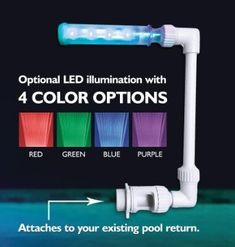 - LED wall mounted pool fountain for above and inground pools - Can be used for underwater lighting - Comes in two-speed color changing waterfall, cycles through four colors and is controlled with the