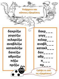 δακρύζω  γογγύζω  κελαρύζω  αναβλύζω  κατακλύζω  δανείζω  αθροίζω  πήζω  πρήζω  Υπάρχουν και κάποιες εξαιρέσεις  δακρ_ _ _... Rules For Kids, Lessons For Kids, Greek Language, Speech And Language, Learn Greek, Mindfulness Activities, Special Needs Kids, School Pictures, School Organization