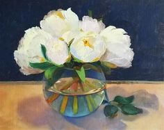 """Daily Paintworks - """"Peonies From the Garden"""" - Original Fine Art for Sale - © Michelle Rideout"""