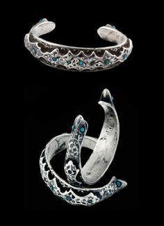Central Asia | Silver Niello bracelets with turquoise | Uzbekistan / Tajikistan Region | Circa Early 20th Century | £550 each