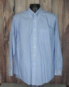 Brooks Brothers Long Sleeve Non Iron Cotton Dress Shirt Blue Striped 16.5 #BrooksBrothers