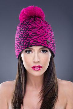 Pink Line Pattern Beanie with Knit PomPom
