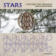 Stars. Christmas tree ornament. FREE vector model. Ready for laser cut.