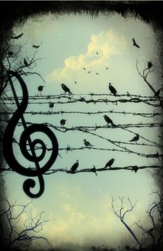 treble clef and birdy notes.