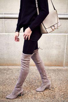 Stuart Weitzman Highland Over the Knee Boots, Black Sweater, Black Skinny Jeans, Chloe Faye Medium Handbag, Black Celine Sunglasses, Fall Outfit