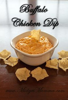 Crockpot Buffalo Chicken Dip  8oz cream cheese 1/2 cup Ranch 1/2 cup Buffalo hot sauce 1/2 cup Monterey Jack cheese 11oz Chicken   Cut cheese into slices. Mix ingredients in crock pot on high for one and a half hours stirring every half hour.  Serve with tortilla chips.