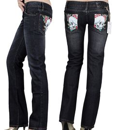 61e8d2211fa ltvBE ED Hardy Women Skull N Rose Denim Christian Audigier