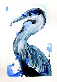 Great Blue Heron Watercolor Art Print  Bird Art by dawndermanart
