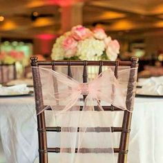 Ethereal wedding reception chair back décor by Belmar Golf Club