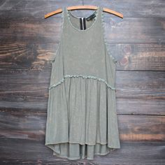 olive green acid wash high-low racer back tank - shophearts - 1
