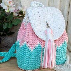 I Found These Elegant Crochet Bags . I Crochetbag - Crochet Tutorial - Best Knitting Crochet Backpack Pattern, Free Crochet Bag, Diy Crochet, Crochet Hats, Crochet Ideas, Crochet Handbags, Crochet Purses, Crochet Girls, Knitted Bags