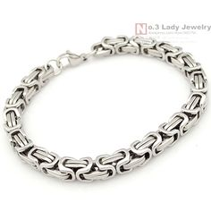 New Product, Silver Stainless Steel bracelets Link Byzantine Chain Bracelet For MENS Jewelry Fashion, Good quality, WB249