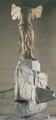 [Unknown, Nike of Samothrace, ca. 190BCE, Marble, Hellenistic period] All the monuments erected in Greek temples were meant as thanks for the gods, as well as to impress visitors and increase the fame of their donors. (Siebler, 92) The Nike of Samothrace, one of the world most celebrated sculpture, had successfully achieved this with no doubt. It is a freestanding sculpture, which originally stood in an open-fronted building at the Great Gods on Samothrace. (Burn, 88-89)