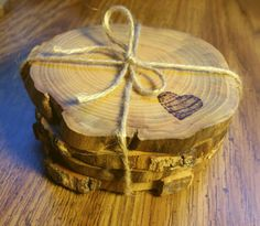 Wood Burned Pyrography Wood Drink Coasters by IndigoSpoons on Etsy