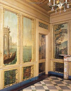 Walls: The Best of Decorative Treatments: Florence de Dampierre, Tim… Mural Painting, Mural Art, Wall Murals, Painted Paneling Walls, Wood Panel Walls, Fresco, Art Decor, Decoration, Scenic Wallpaper