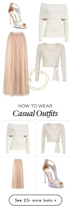 """""""Casual Fall Wedding"""" by sarah-morris-iv on Polyvore featuring Needle & Thread, Rebecca Taylor, River Island, Jimmy Choo and Chanel #skirtoutfits"""