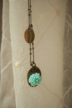 Handmade Aqua Resin Flower Vintage Style Pendant Necklace on Antiqued Brass Beaded Chain with Faithfulness Tag/Charm
