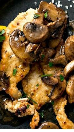 Lemon and Garlic Chicken With Mushrooms In this Provençal rendition of pan-cooked chicken breasts, the mushrooms take on and added dimension. Lemon Garlic Chicken, Chicken Parmesan Recipes, Healthy Chicken Recipes, Cooking Recipes, Recipe Chicken, Chicken Salad, Cooking Tips, Chicken Meals, Turkey Recipes