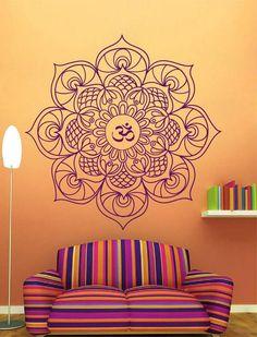 ik2372 Wall Decal Sticker Hinduism om mandala yoga room living room bedroom