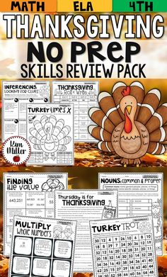 This Thanksgiving NO PREP Math and Reading packet is the perfect resource for keeping skills sharp! Choose from 8 pages of reading review activities and 8 pages of math review activities - all fun, meaningful, and engaging! Perfect for Fourth Grade and Fifth Grade!