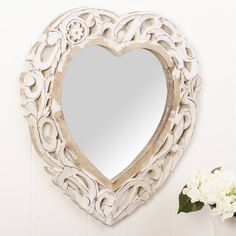 carved heart white wooden wall mirror by dibor   notonthehighstreet.com