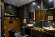 black toilet bathroom design by Enigma Interiors Bathroom Layout, Bathroom Interior, Bathroom Ideas, Bathroom Designs, Bathroom Inspiration, Diy Interior, Interior Design, Black Toilet, Mosaic Tile Designs