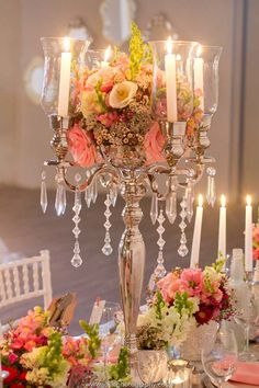 Classic Peach Wedding Inspiration - Candles, Crystals, Flowers