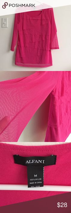 Hot pink 3/4 sleeve blouse. Very beautiful but too big on me. Sheer sleeves. Size Medium. Never worn Alfani Tops
