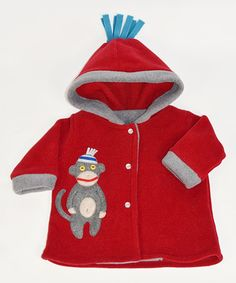 Look what I found on #zulily! Red Monkey Hooded Snap Jacket - Infant by Tuff Kookooshka #zulilyfinds