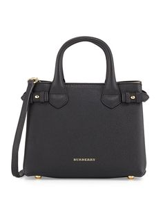 Burberry Banner Small House Check Derby Tote Bag Black