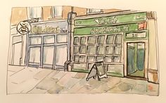 Loose sketch of Hampstead shopfront. Pink, ink and watercolour. Moleskine sketch book. Urban Sketch.