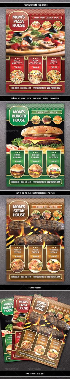 """¡°Food Flyer 3 (A5)"""" Suitable for any restaurant and fast food business. Easy to move or change if required. Files are structured in folders and well named for easy editing. Change text, edit colors and move items. Easy to change images. (smart objects) Content"""
