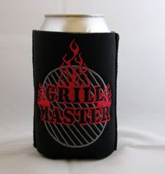 Grill Master Embroidered Can Koozie in Black by MamasSewingRoom, $8.50