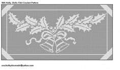 989 Holly Bells Christmas Filet Crochet Doily  Tablecloth Pattern | CROCHETBYDASMADE - Patterns on ArtFire
