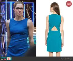 Felicity's blue dress with back cutout on Arrow.  Outfit Details: http://wornontv.net/47006/ #Arrow