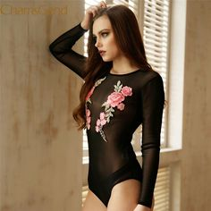 Chamsgend Women Sexy See-Through Full Sleeve Mesh Bodysuit Black Skinny  Rompers Jumpsuit with Rose 7226500cc37