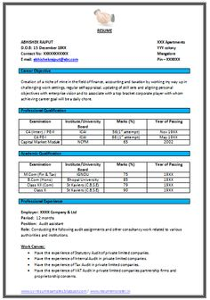 Example Sample Template For Fresher As Well As Experienced With Career  Objective And Job Profile, Professional Curriculum Vitae With Free Download  In Word ...