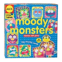 This Alex Kooky monster-themed memory game includes 32 big chunky cards and stimulates cognitive development by increasing memory, social skills and emotion recognition.     Recommended Ages: 3+ years old.    Players: 1 - 4 Players. $11.99