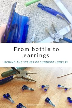 Recycled Skyy Vodka bottle to eco-friendly earrings. Behind the scenes at Sundrop Jewelry. Recycled Glass Bottles, Glass Bottle Crafts, Sea Glass Crafts, Bottle Art, Mosaic Glass, Fused Glass, Glass Art, Stained Glass, Mosaic Mirrors