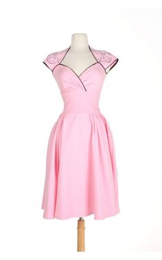 Luscious Dress in Pink with Black Swan and Atomic Starbursts - Dresses - Clothing | Pinup Girl Clothing